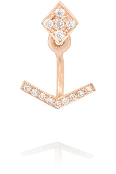 Diane Kordas - 18-karat Rose Gold Diamond Earring - one size