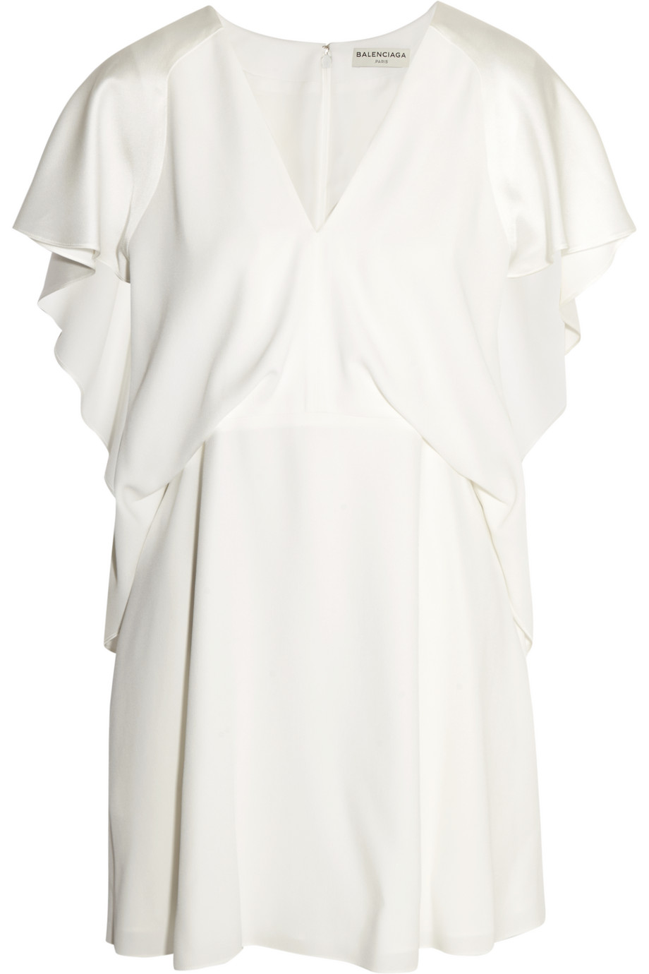 Balenciaga Ruffled Satin-Crepe Mini Dress, White, Women's, Size: 34