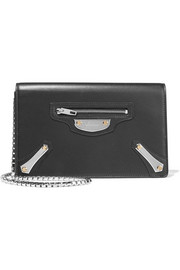 Metal Plate leather shoulder bag
