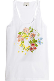 Bisham embroidered cotton-jersey tank