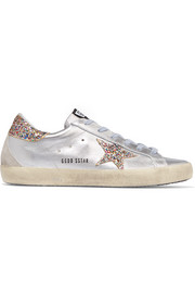 Super Star glittered metallic leather sneakers