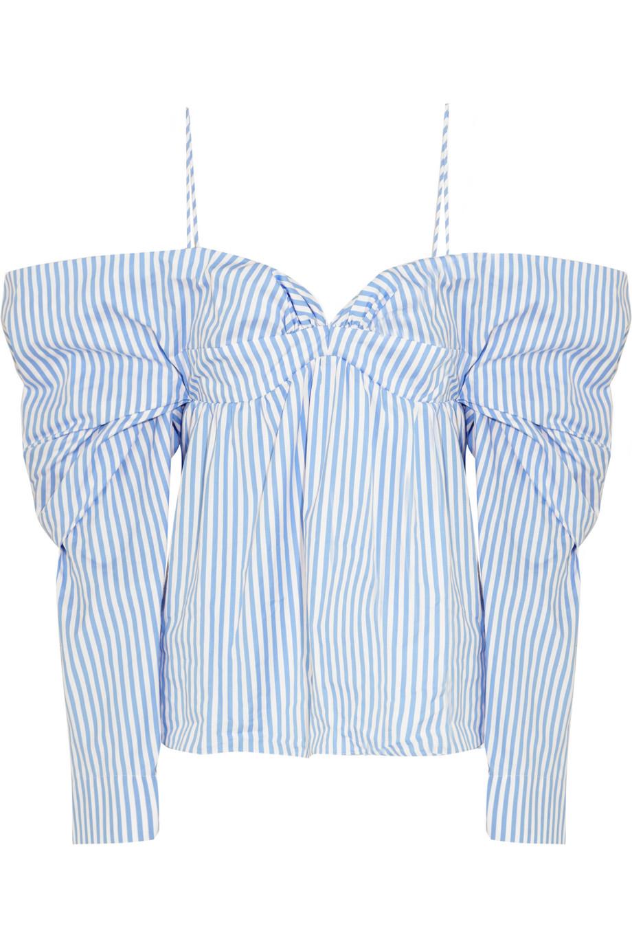 J.W.Anderson Off-the-Shoulder Striped Cotton-Poplin Top, Light Blue, Women's, Size: 12