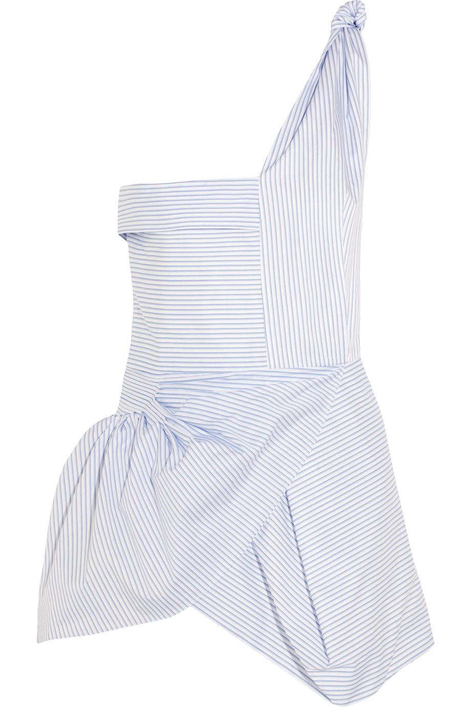 J.W.Anderson One-Shoulder Striped Cotton-Poplin Top, Light Blue, Women's, Size: 14