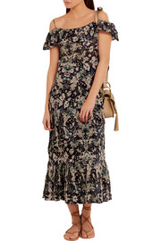 IRO Yonelia off-the-shoulder printed voile midi dress
