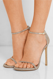 Nudist metallic mesh sandals