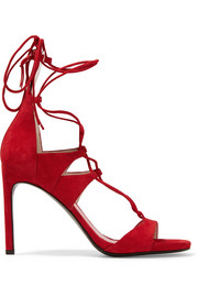 Stuart Weitzman Legwrap lace-up suede sandals