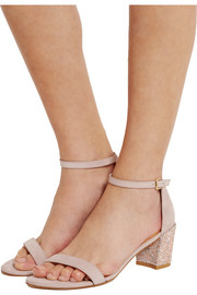 Stuart Weitzman Simple glittered nubuck sandals