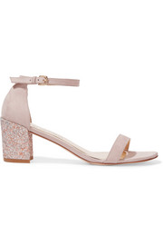 Simple glittered nubuck sandals