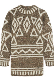 Intarsia merino wool, alpaca and silk-blend sweater