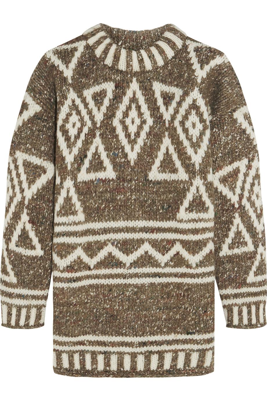 J.Crew Intarsia Merino Wool, Alpaca and Silk-Blend Sweater, Brown, Women's