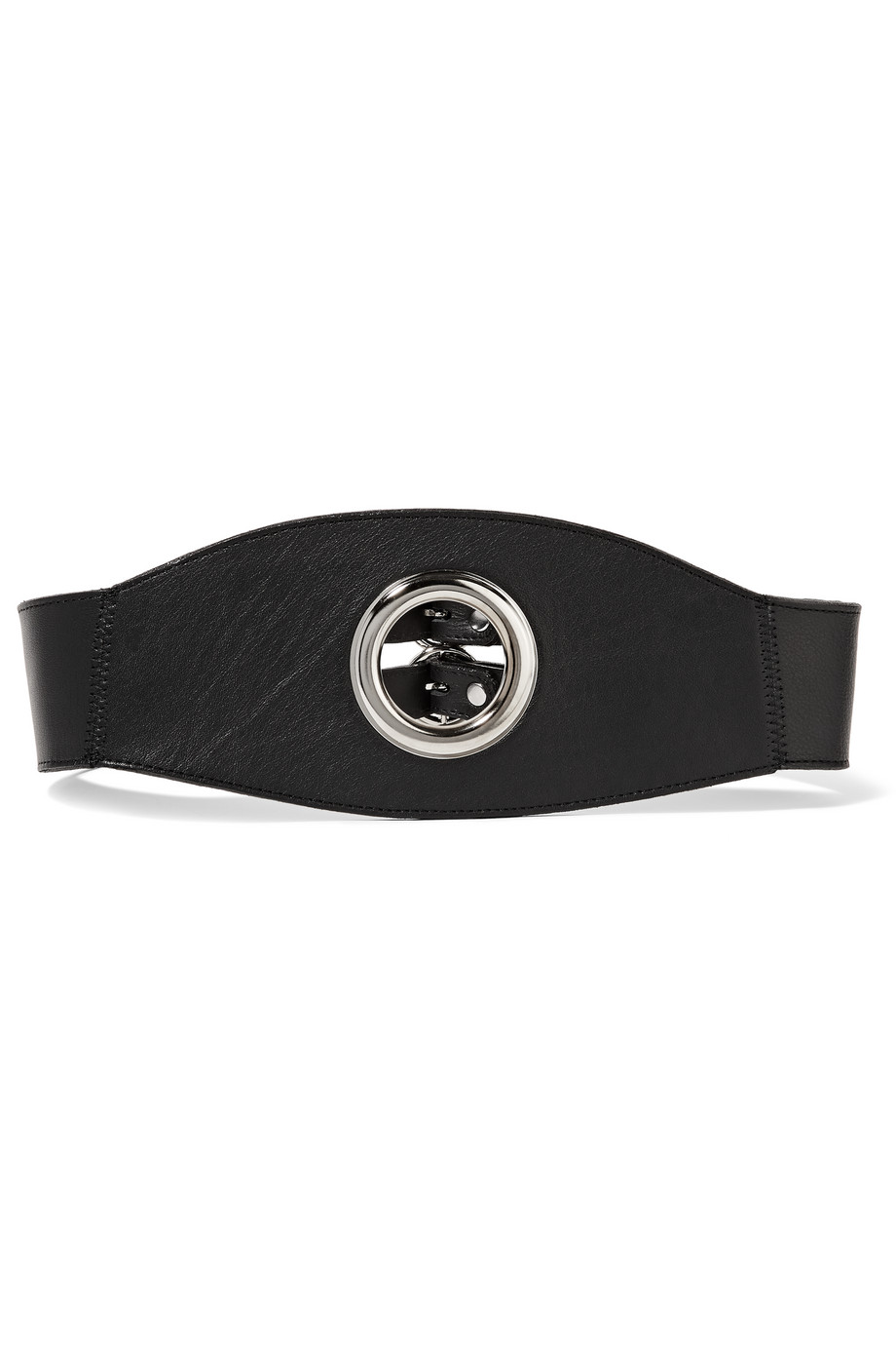 Eyelet Cincher Leather Waist Belt, Black, Women's