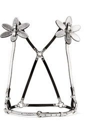 Lola appliquéd metallic leather harness