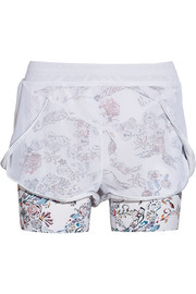 Lucas Hugh Inca mesh and floral-print stretch-jersey shorts