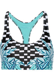 Botanica printed stretch-jersey sports bra
