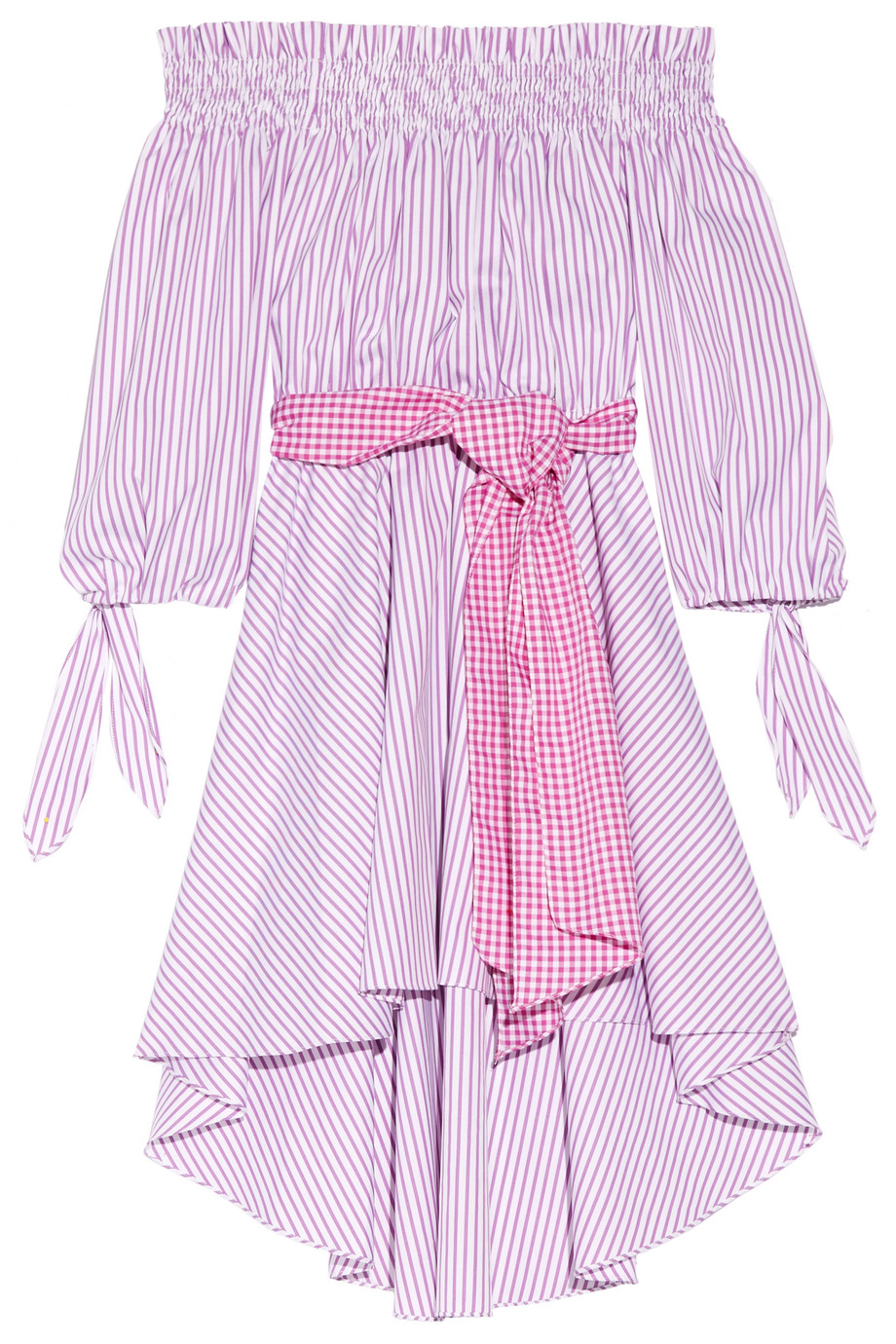 Lou Off-the-Shoulder Striped Cotton Oxford Dress, Violet, Women's - Striped