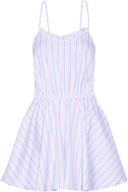Caroline Constas Demi striped cotton Oxford playsuit