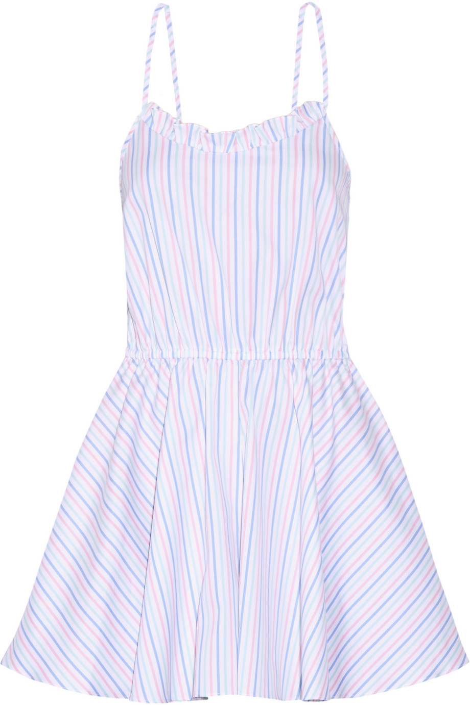 Demi Striped Cotton Oxford Playsuit, White/Blue, Women's, Size: M