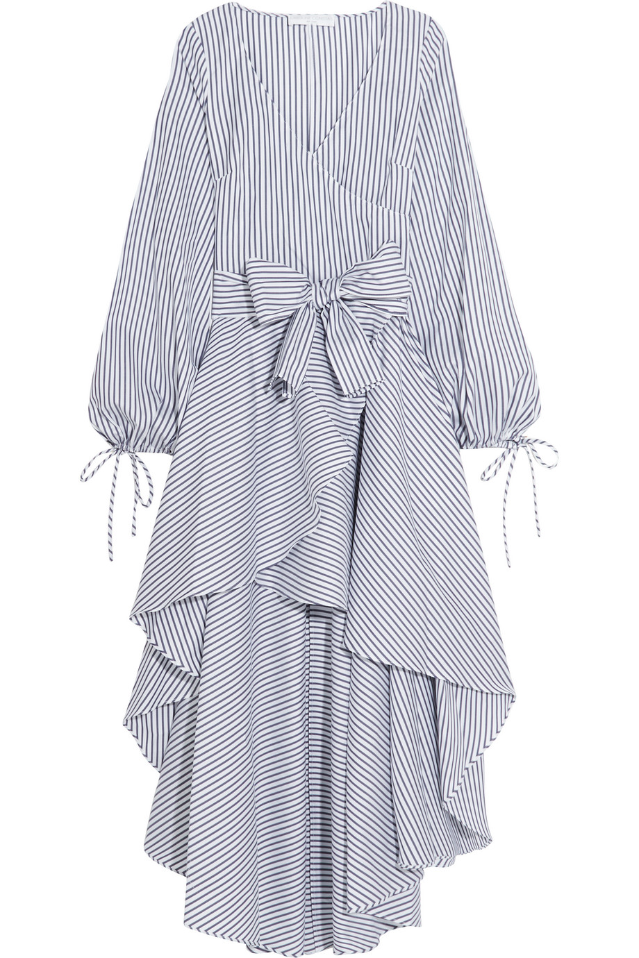 Lena Wrap-Effect Striped Cotton Dress