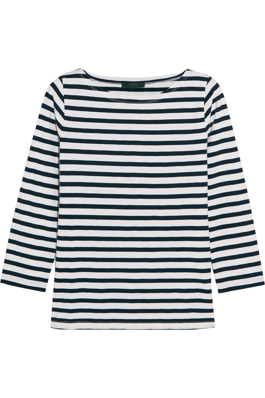 J.Crew Striped Cotton-Jersey Top, Navy, Women's, Size: XL