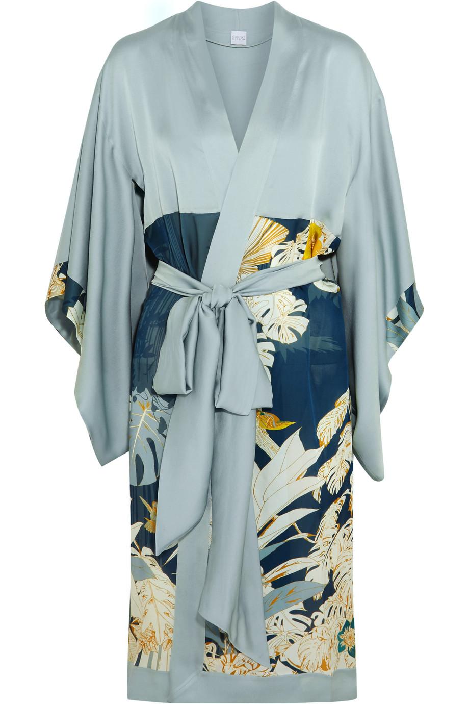 Carine Gilson Printed Silk Robe, Petrol, Women's, Size: M