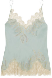 Florence lace-trimmed silk-satin camisole