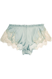 Florence lace-trimmed silk-satin shorts