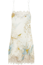 Florence lace-trimmed printed silk chemise