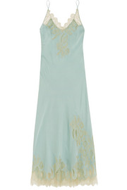 Florence lace-trimmed silk crepe de chine nightdress