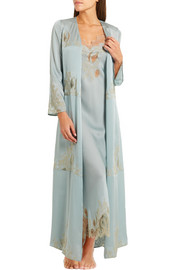 Florence lace-trimmed silk-satin robe