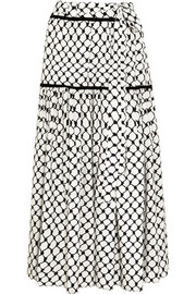 Tasseled printed silk crepe de chine maxi skirt