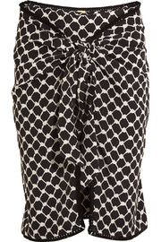 Tasseled printed silk crepe de chine wrap mini skirt