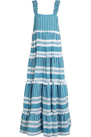 Tiered tasseled cotton-gauze maxi dress