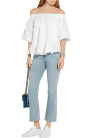 Elizabeth and James Penelope off-the-shoulder stretch-twill blouse