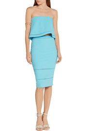 Elizabeth and James Wheeler pointelle-trimmed stretch-ponte pencil skirt