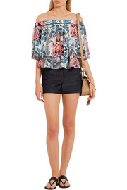 Elizabeth and James Vanessa off-the-shoulder printed silk top