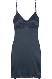 Rosie Dreaming Leavers lace-trimmed stretch-silk chemise