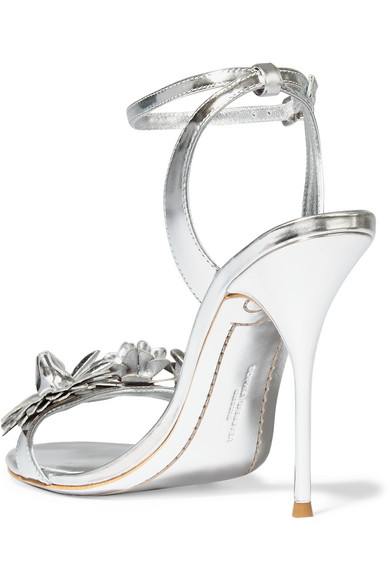 Sophia Webster Lilico Sandalen aus Metallic-Leder mit Applikation