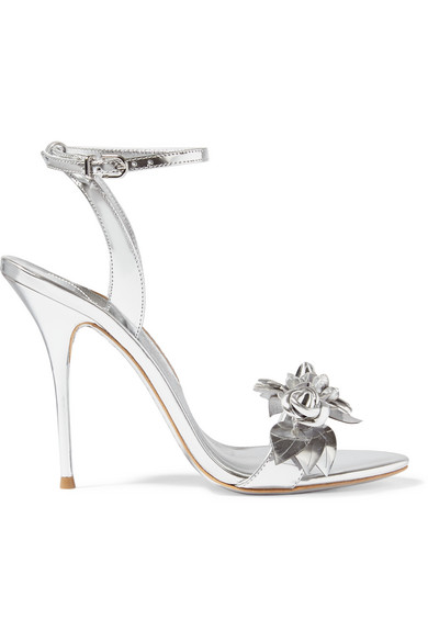LILICO FLORAL LEATHER 105MM SANDAL, SILVER