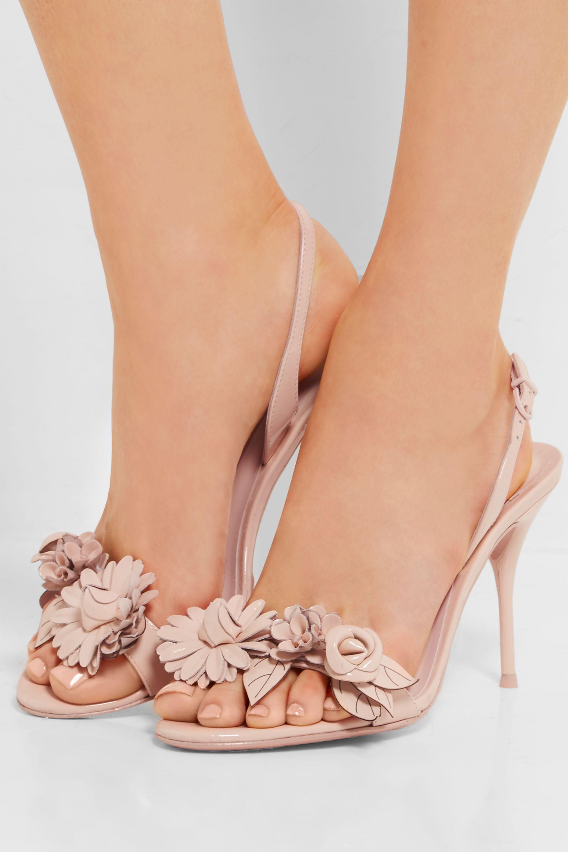 Sophia Webster Lilico appliquéd patent-leather slingback sandals
