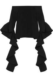 Delores ruffled off-the-shoulder crepe top