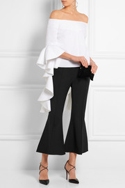 Delores ruffled off-the-shoulder cotton-poplin top