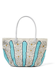 Canasta leather-trimmed crocheted cotton tote