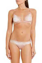 Stella McCartney Julia Stargazing Leavers lace and Swiss-dot tulle underwired bra