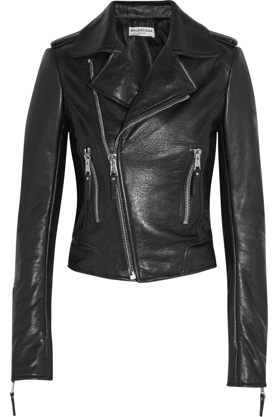 Balenciaga Textured-Leather Biker Jacket, Black, Women's, Size: 38
