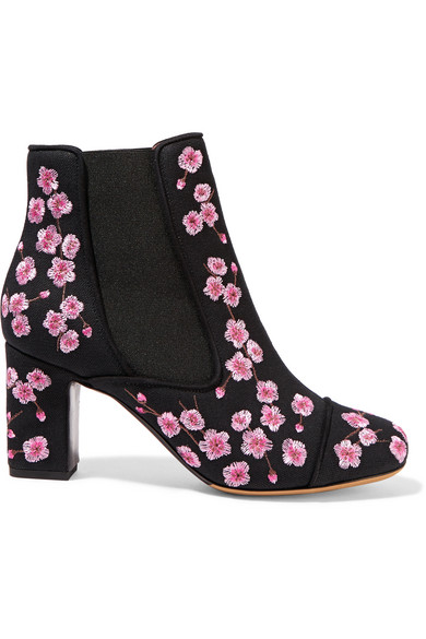 Tabitha Simmons - Micki Blossom Embroidered Canvas Ankle Boots - Pink