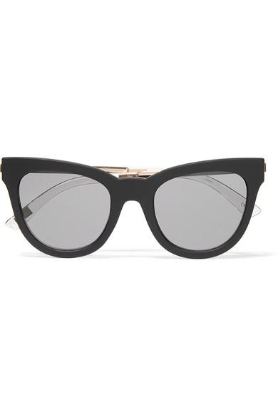 e839c4f980 Le Specs. Le Debutante cat-eye rubber and gold-tone sunglasses