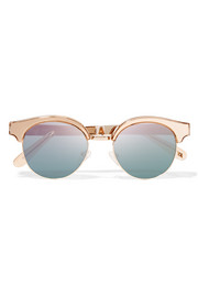 Luxe Cleopatra cat-eye metal mirrored sunglasses