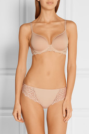 Caresse stretch-jersey and lace plunge bra