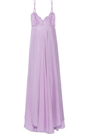 Rosamosario Come Ti Amo Oscar Wilde lace-trimmed silk-georgette nightdress