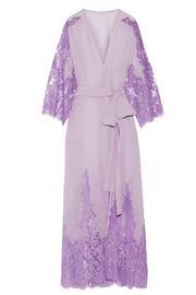 Rosamosario Come Ti Amo Oscar Wilde lace-paneled silk-georgette robe